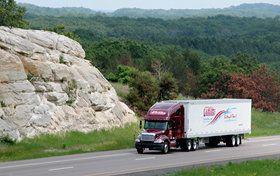 Millis Transfer truck in mountains