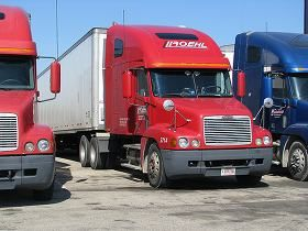Roehl Transport parked in truck stop