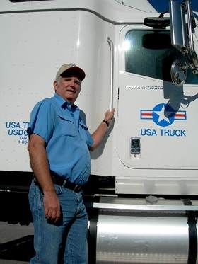 USA Truck driver with truck